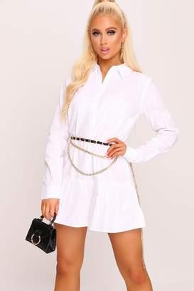 I SAW IT FIRST White Frill Hem Oversized Shirt Dress