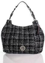 Dana Buchman Black Wool Boucle Textured Single Strap Shoulder Handbag