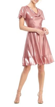 Gal Meets Glam Callista Cowl Neck A-Line Dress