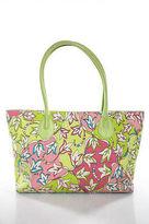 Emilio Pucci Pink Lime Green Canvas Leather Trim Floral Print Tote Handbag