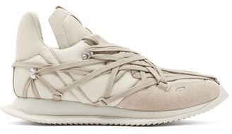 Rick Owens Maximal Runner Laced Leather Trainers - Mens - Beige