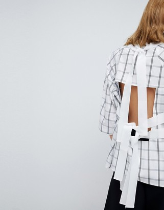 ASOS Open Back Top in Grid Print