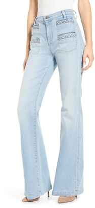 7 For All Mankind Georgia Braided Welt High Waist Flare Jeans