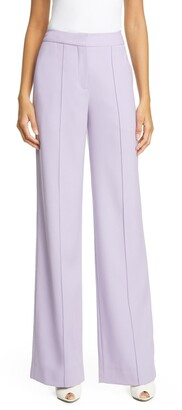 ADAM by Adam Lippes Pintuck Tropical Stretch Wool Wide Leg Pants