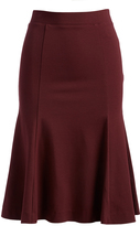 Three Dots Malbec Trumpet Skirt