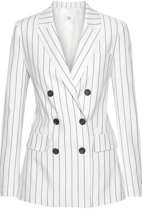Iris & Ink Mallee Double-breasted Pinstriped Cotton-blend Twill Blazer