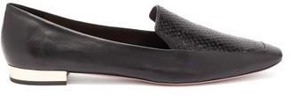 Aquazzura Greenwich Snake-embossed Leather Loafers - Black