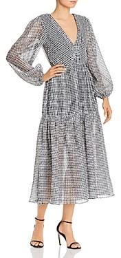 Bec & Bridge Nadine Crinkled Gingham Midi Dress