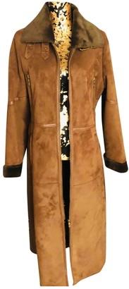 Balmain Brown Suede Coat for Women Vintage