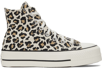 Converse Beige & Brown Leopard Chuck Taylor All Star Lift High Sneakers
