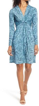 Ilse Jacobsen Paisley Print Twist Front Long Sleeve Jersey Dress