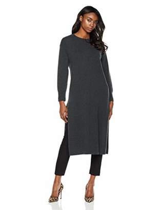 Peplum Pointe Women's Loose Fit Cashmere Blend Crew Neck Long Sleeve Side Slits Maxi Sweater Dress(