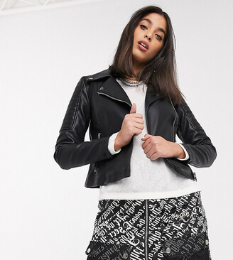 Noisy May Petite leather look biker jacket in black