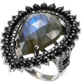 bavna Sterling Silver Labradorite & Black Spinel Ring