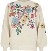 River Island Womens Cream floral embroidered sweater
