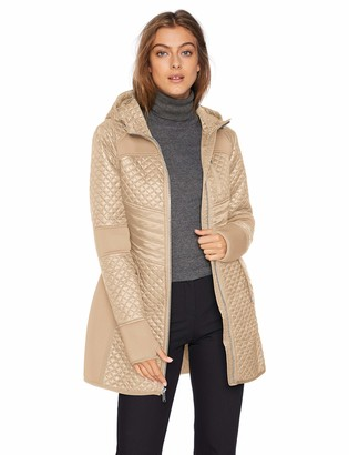 London Fog Women's Zip Front Thigh Length Quilt and Knit Coat with Hood