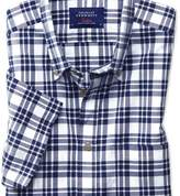 Charles Tyrwhitt Slim fit button-down poplin short sleeve navy blue check shirt