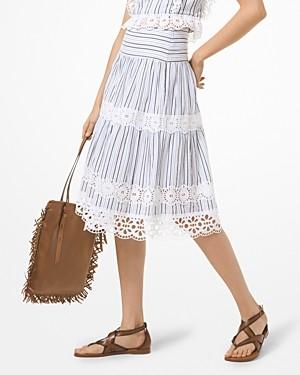 MICHAEL Michael Kors Striped Eyelet Cotton Skirt