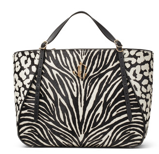 Jimmy Choo VARENNE TOTE E/W Black and White Animal Print Pony Tote Bag with JC Emblem