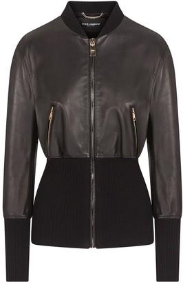 Dolce & Gabbana Ribbed Waist Lambskin Jacket