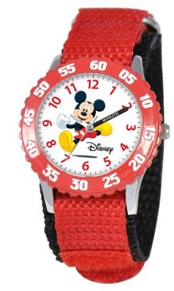 Disney Mickey Mouse Boys'Stainless Steel Time Teacher Watch, Red Bezel, Red Nylon Strap