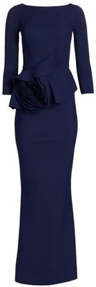 Chiara Boni Morny Three-Quarter Rosette Gown