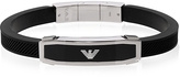 Emporio Armani Stainless Steel and Black Rubber Men's Bracelet