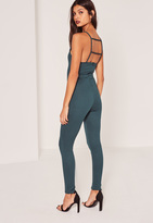 Missguided Ribbed Strappy Back Detail Unitard Romper Green
