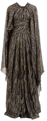 Peter Pilotto Lame Fil-coupe Silk-blend Georgette Gown - Black
