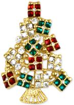 Charter Club Holiday Lane Gold-Tone Multi-Crystal Gift Tree Brooch, Created for Macy's
