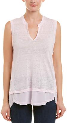Acrobat Split Neck Linen & Silk-Blend Top