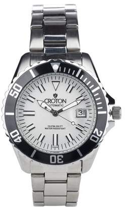 Croton Men's Stainless Silver Dial Automatic Watch with Magnified Date Window
