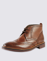 M&s Collection Leather Brogue Chukka Boots