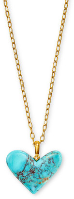 Kendra Scott Poppy Heart Vintage Gold Long Pendant Necklace in Turquoise