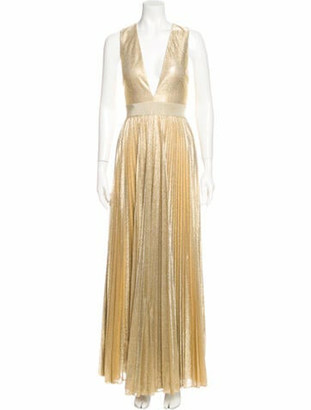 Alice + Olivia V-Neck Long Dress Gold