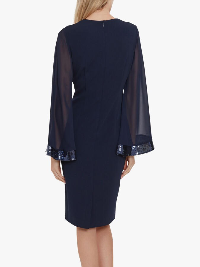 Thumbnail for your product : Gina Bacconi Hania Moss Crepe Embellished Dress