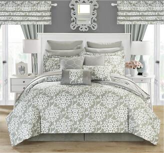Chic Home Geraldina Pleated Ruffles & Reversible Printed Comforter Set