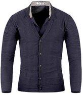 Mmoriah Men's Luxury Jacquard Knit Cardigan Sweater Jumper Top