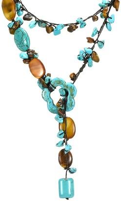 Aeravida Handmade Lariat Glam Turquoise Tiger Eye Wrap Around Necklace