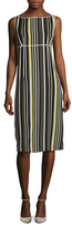 Prada Crepe Striped Knee Length Dress