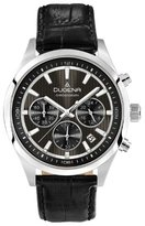 Dugena Men's Chronograph Quartz Watch with Multi-Colour Dial Analogue Display and Black Leather Strap