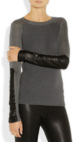 Reed Krakoff Leather-trimmed merino wool and silk sweater