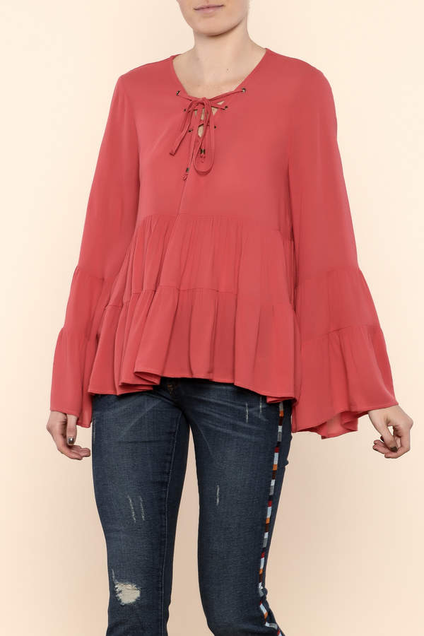 Entro Bell Sleeve Lace-Up Top