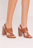 Missguided Block Heel Cross Strap Sandal
