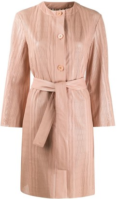 Drome Perforated Belted Trench Coat