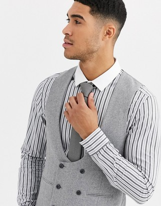 Gianni Feraud Winter Wedding Slim Fit Tweed Wool Blend Suit Waistcoat-Grey