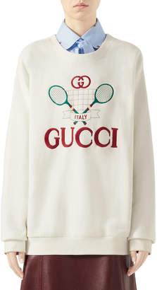 Gucci Oversized Embroidered Tennis-Logo Sweatshirt