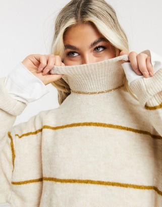 Object knitted jumper with high neck in beige stripe