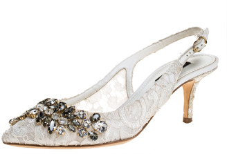 Dolce & Gabbana White Crystal Embellished Lace Pointed Toe Slingback Sandals Size 36