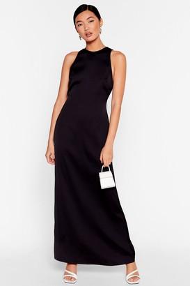 Nasty Gal Womens Sleek to You Later Satin Maxi Dress - Black - 6, Black